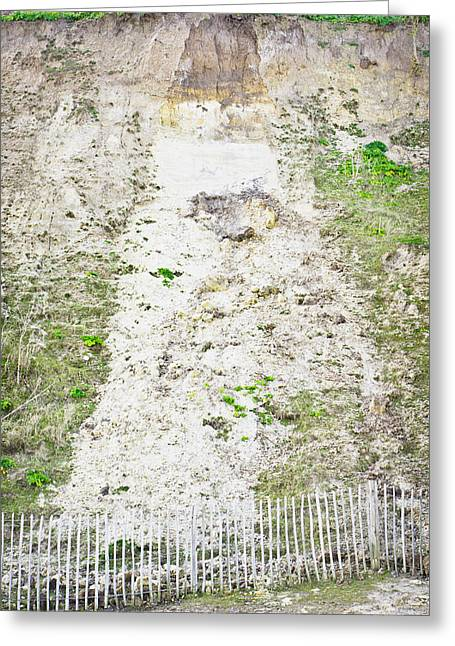 Cliff Damage Greeting Card by Tom Gowanlock
