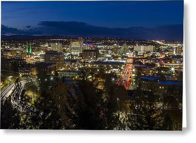 Cliff Drive Rush Hour - Spokane  Greeting Card by Mark Kiver