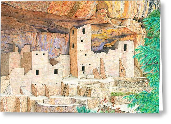 Pueblo Drawings Greeting Cards - Cliff Dwellings of Old Greeting Card by Diana Hrabosky