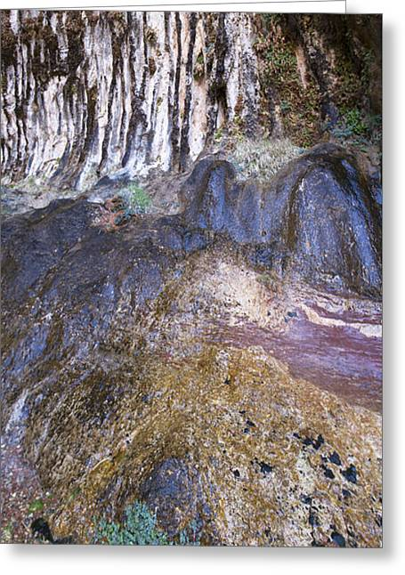 Weeping Greeting Cards - Cliff Face with Waterfall and Plant Growth Greeting Card by Karen Foley