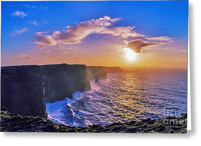 Cliffs Pyrography Greeting Cards - Cliffs of Moher Greeting Card by Niall Cosgrove