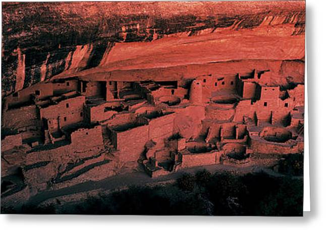 Cliff Dwellers Greeting Cards - Cliff Palace Mesa Verde National Park Greeting Card by Panoramic Images