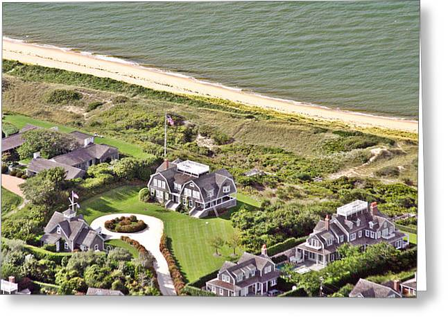 Custom Aerial Greeting Cards - Cliff Road Houses Nantucket Island 4 Greeting Card by Duncan Pearson