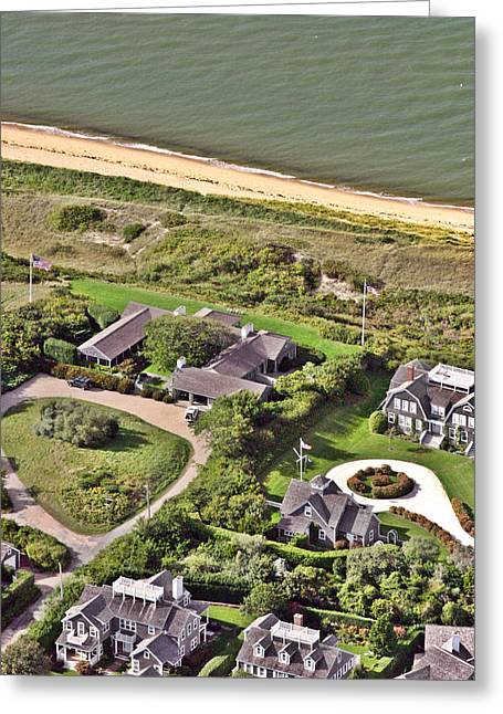 Custom Aerial Greeting Cards - Cliff Road Houses Nantucket Island 5 Greeting Card by Duncan Pearson