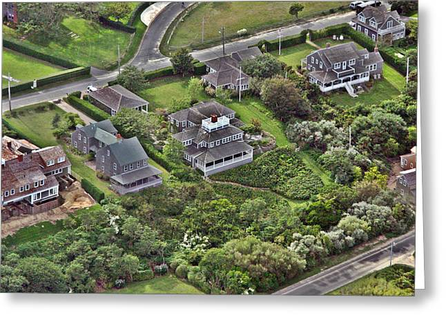 Custom Aerial Greeting Cards - Cliff Road Houses Nantucket Island Greeting Card by Duncan Pearson