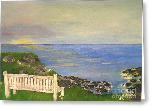 Empty Chairs Mixed Media Greeting Cards - Cliff View Greeting Card by Karen J Jones