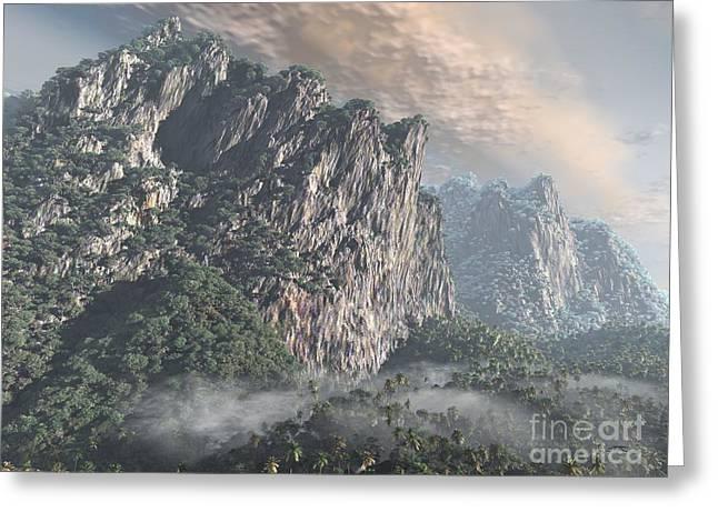 Haze Sculptures Greeting Cards - Cliffs and Jungle Greeting Card by Dave Luebbert