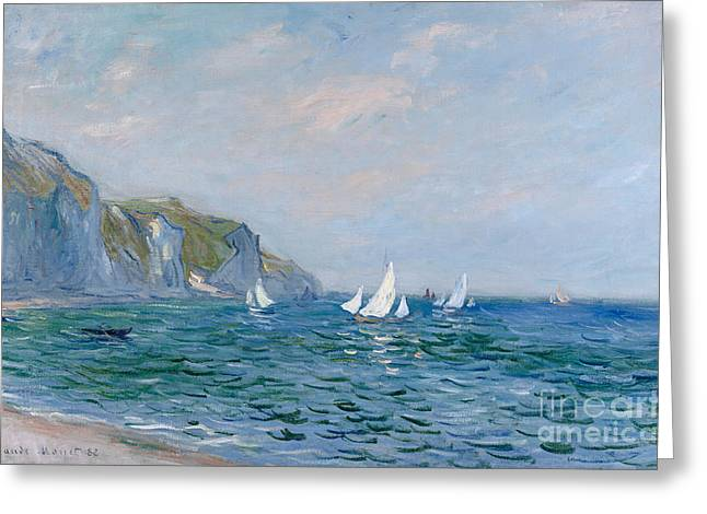Port Greeting Cards - Cliffs and Sailboats at Pourville  Greeting Card by Claude Monet