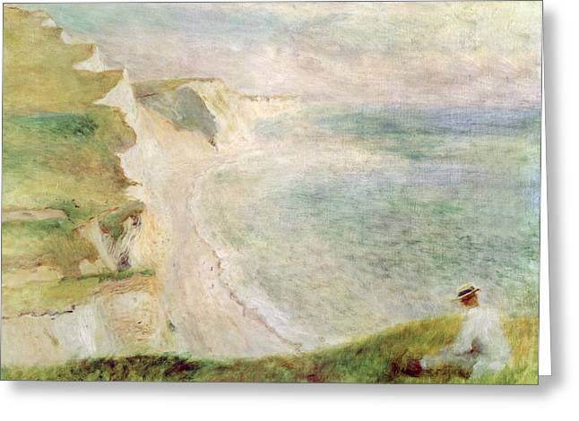Beach White Greeting Cards - Cliffs at Pourville Greeting Card by Pierre Auguste Renoir