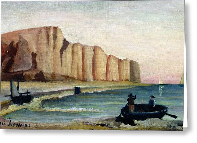 Cliff Paintings Greeting Cards - Cliffs Greeting Card by Henri Rousseau