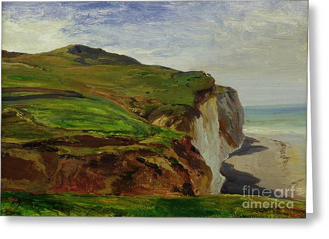 Cliff Paintings Greeting Cards - Cliffs Greeting Card by Louis Eugene Gabriel Isabey