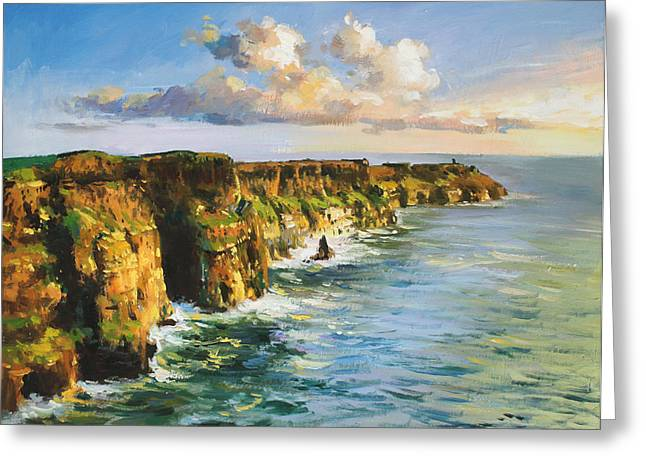 Dappled Light Paintings Greeting Cards - Cliffs of Mohar 2 Greeting Card by Conor McGuire