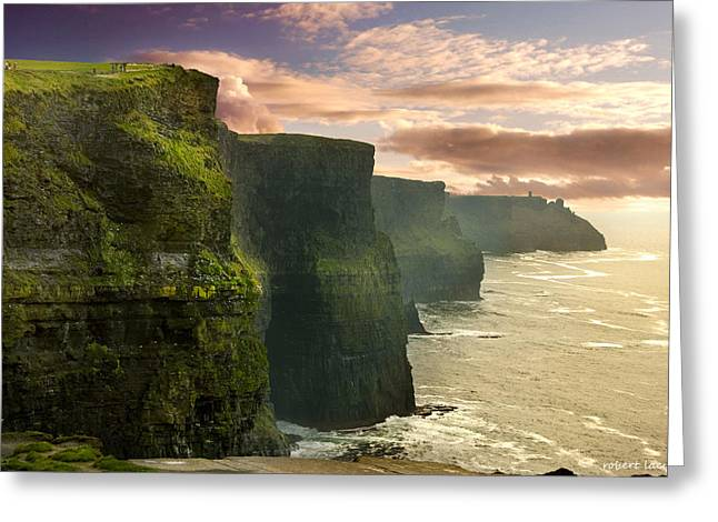 Rugged Cliffs Greeting Cards - Cliffs of Moher - 2 Greeting Card by Robert Lacy