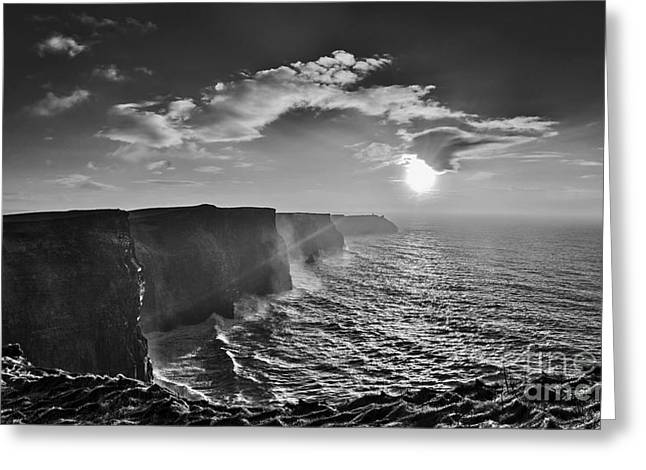 Cliffs Pyrography Greeting Cards - Cliffs of Moher in Black and White Greeting Card by Niall Cosgrove