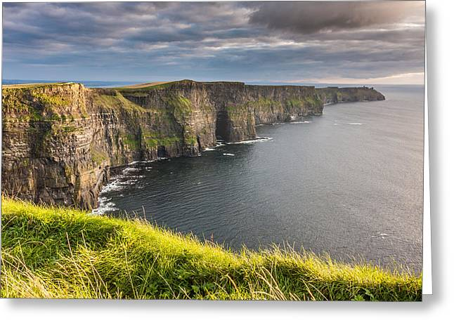 Cliffs Of Moher Greeting Cards - Cliffs of Moher on the west coast of Ireland Greeting Card by Pierre Leclerc Photography