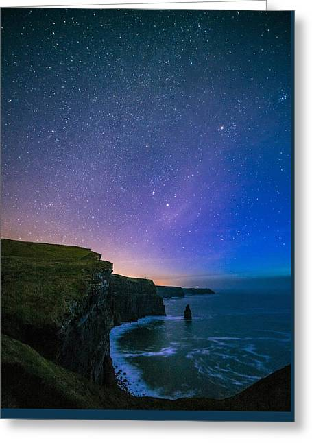 Cliffs Pyrography Greeting Cards - Cliffs Of Moher Starry Night Greeting Card by Niall Cosgrove