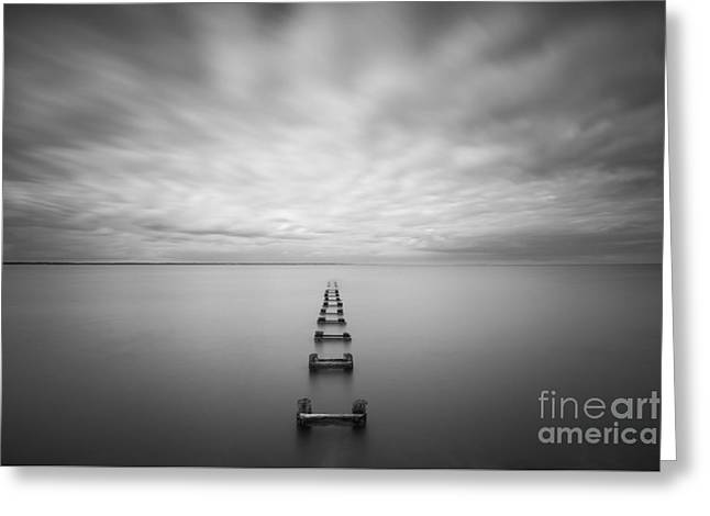 Best Ocean Photography Greeting Cards - Cliffwood Sea Wall BW Greeting Card by Michael Ver Sprill