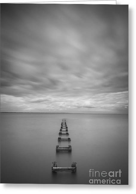 Best Ocean Photography Greeting Cards - Cliffwood Sea Wall Vertical  BW Greeting Card by Michael Ver Sprill