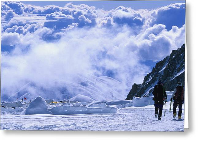 30-35 Years Greeting Cards - Climber Leaving 14,000 Foot Camp Greeting Card by Bill Hatcher