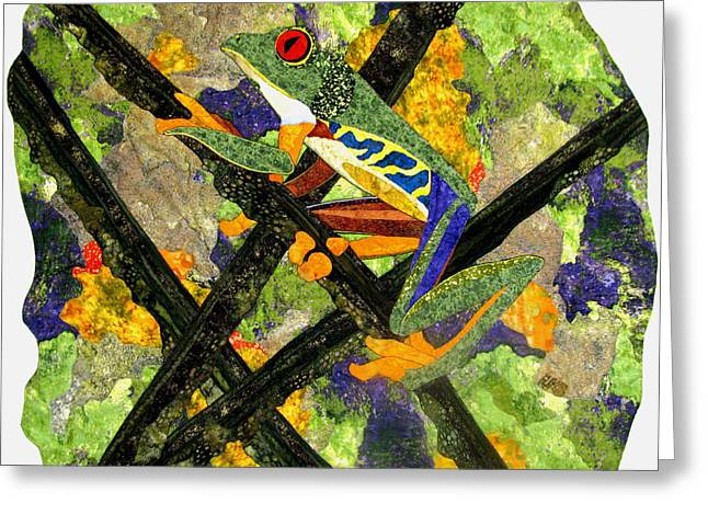 Amphibians Tapestries - Textiles Greeting Cards - Climbing Higher Greeting Card by Lynda K Boardman