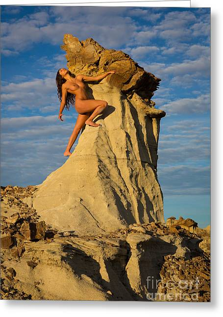 Human Forms Greeting Cards - Climbing Greeting Card by Inge Johnsson
