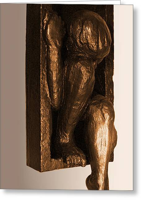 Figures Sculptures Greeting Cards - Climbing Out view 1 Greeting Card by Katherine Howard