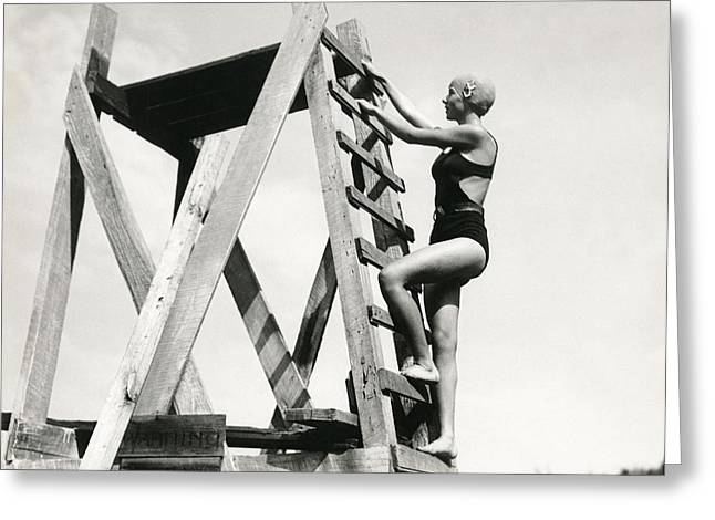 Swim Ladder Greeting Cards - Climbing Up The High Dive Greeting Card by Underwood Archives