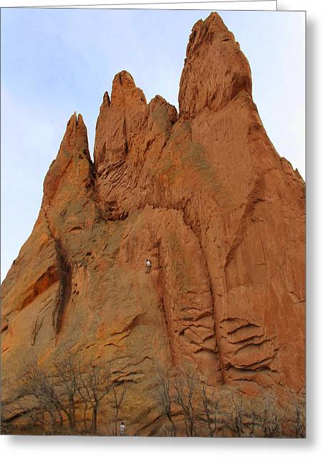 Garden Of The Gods Greeting Cards - Climbing with the Gods Greeting Card by Mike McGlothlen