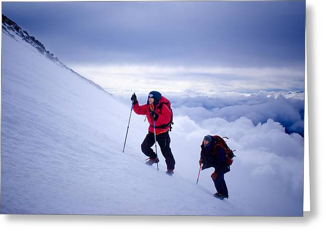 Alpine Skiing Prints Greeting Cards - Climbing Greeting Card by Iurii Zaika
