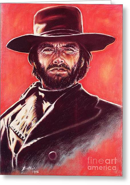 The Good The Bad Greeting Cards - Clint Eastwood Greeting Card by Anastasis  Anastasi