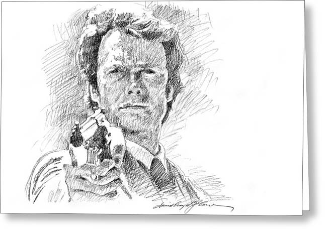 Legend Drawings Greeting Cards - Clint Eastwood as Callahan Greeting Card by David Lloyd Glover