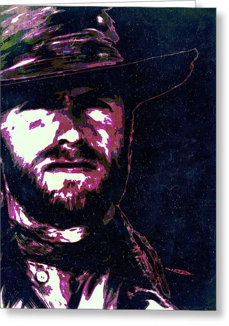 Fistful Of Dollars Greeting Cards - Clint Eastwood portrait poster retro print wall decor Greeting Card by Lautstarke Studio