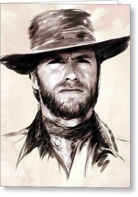 Sergio Leone Greeting Cards - Clint Eastwood Portrait Greeting Card by Wu Wei