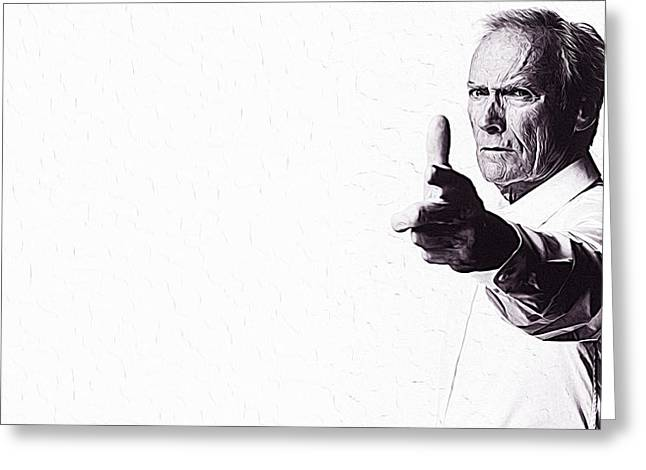 Bad Drawing Digital Greeting Cards - Clint Eastwood Greeting Card by Queso Espinosa