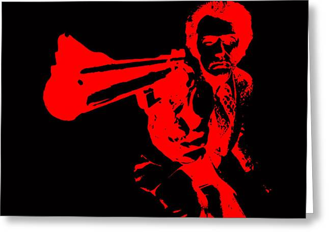 Harry Callahan Greeting Cards - Clint Eastwood Red Greeting Card by Brian Reaves