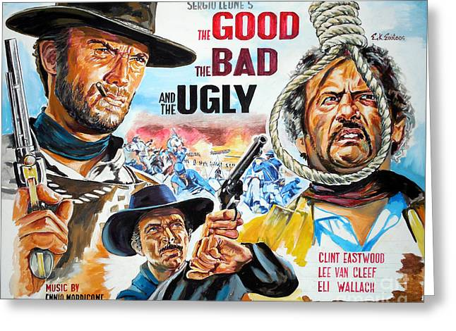 Clint Eastwood The Good The Bad And The Ugly Greeting Card by Spiros Soutsos
