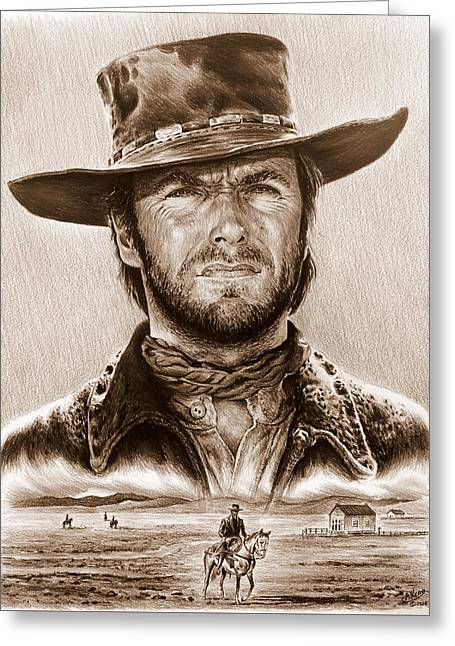 Clint Eastwood The Stranger Greeting Card by Andrew Read