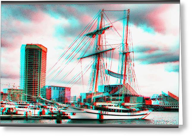 Recently Sold -  - Water Vessels Greeting Cards - Clipper City - Use Red-Cyan 3D glasses Greeting Card by Brian Wallace