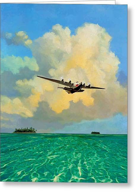 Clippers Mixed Media Greeting Cards - Clipper Over the Islands Greeting Card by David  Van Hulst
