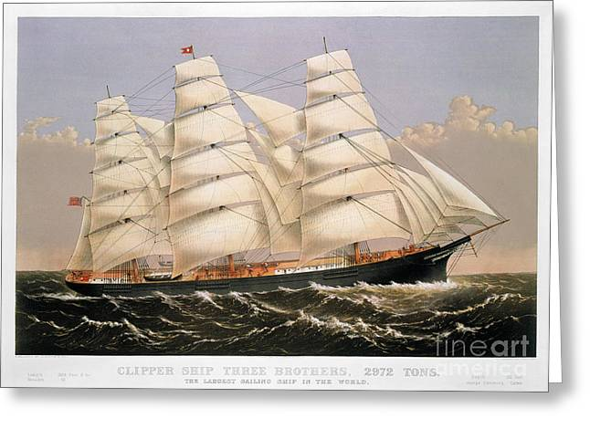 1875 Greeting Cards - Clipper Ship, 1875 Greeting Card by Granger