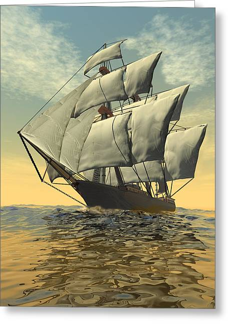 Clippers Digital Art Greeting Cards - Clipper ship Greeting Card by Carol and Mike Werner