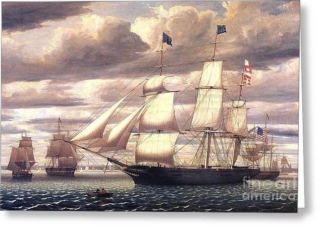 Sailing Ship Greeting Cards - Clipper Ship Southern Cross Greeting Card by Pg Reproductions