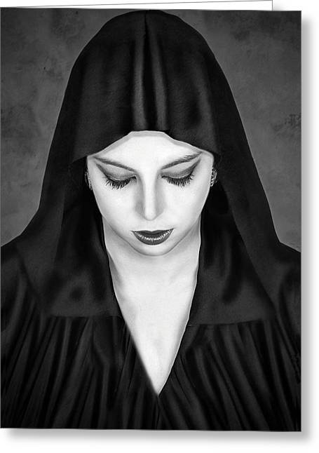 Headshot Greeting Cards - Cloaked Beauty Greeting Card by Baden Bowen