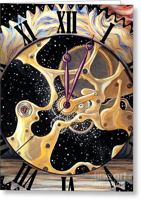 Clock Pastels Greeting Cards - Clock of Universe Greeting Card by Stoyanka Ivanova