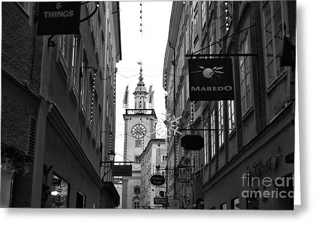 Salzburg Greeting Cards - Clock Tower Between the Buildings Greeting Card by John Rizzuto