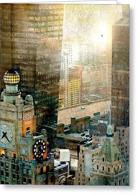 Hyatt Hotel Greeting Cards - Clock Tower Greeting Card by Diana Angstadt