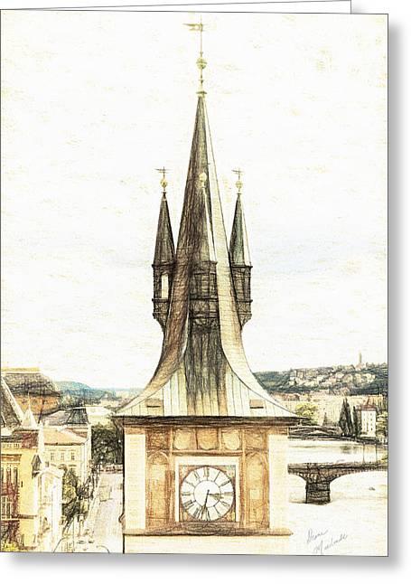 Vltava Digital Greeting Cards - Clock Tower Greeting Card by Diane Macdonald