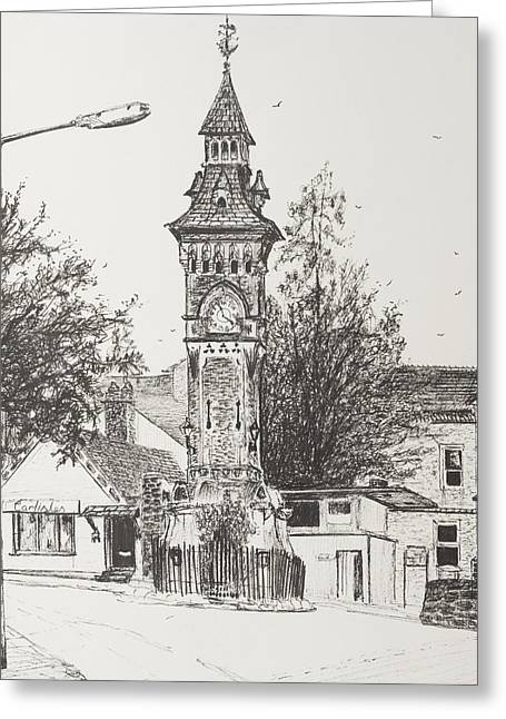 Pen And Paper Drawings Greeting Cards - Clock Tower  Hay on Wye Greeting Card by Vincent Alexander Booth