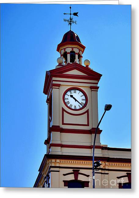 Weather Cock Greeting Cards - Clock Tower in Albury Australia Greeting Card by Kaye Menner