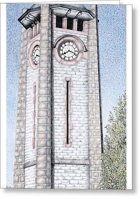 Sand Art Greeting Cards - Clock Tower Greeting Card by Sandra Moore